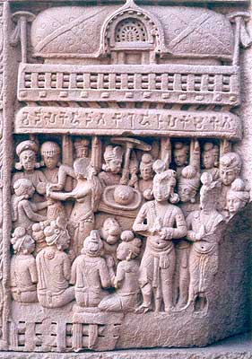 Sanchi. Worship of headdress. A fully evolved iconography in pre-image phase of Buddhist art. (2nd - 1st century B.C)
