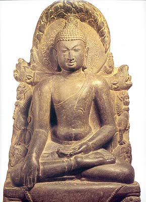Buddha Calling Upon Mother Earth to Bear Witness Pala, Bengal, circa A.D. 11th century Stone, 56 X 32.5 X 17.5 cm
