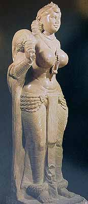 3rd century B. C. : Didarganj Yakshi<br>Style of draping the lower garment during Mauryan era. Worn supported on the waist with a girdle. One half carried to right arm across the left and the back.