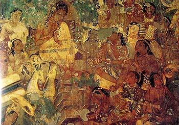 A Congregation from Ajanta, No Two Figures Wear the Same Clothes