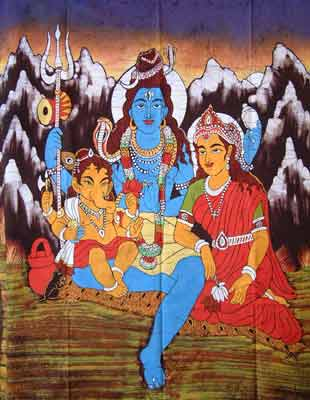 Goddess Parvati and Lord Shiva with their son, Lord Ganesha, in Kailash - their heavenly abode