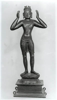 A Rare and Early Sculpture of Bharata, from Vijayanagara. Note the Sandals on His Head