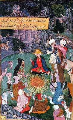 Babur and Companions Warming Themselves Before a Camp Fire (Illustration to the Baburnama),circa 1598 (National Museum, New Delhi). This painting of a night scene shows Babur's qualities of leadership; his concern for his men and comradely treatment he gave them in times of adversity.