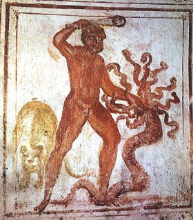 Herakles slaying the many headed Hydra, the classical version of the triumph of Cosmos over Chaos, rendered in Christian art from the catacomb on the Via Latina, Rome