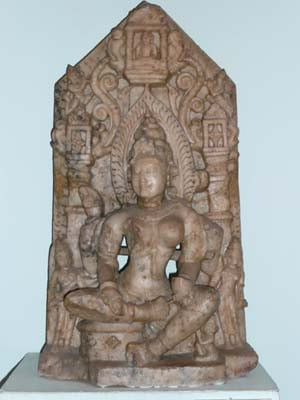 Jain Saraswati with idol of Tirthankara Mahavira in her coiffure: marble, Rajasthan, collection: National Museum, New Delhi