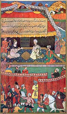 Babur Meeting Khanzada Begam, Mehr Banu Begam and Other Ladies by artist Mansur (Illustration to the Baburnama), circa 1598 (National Museum, New Delhi). Khanzada Begam was the sister of Baur. When he was forced to evacuate Samarkand in 1500 A.D. he was compelled to marry her to Shaibani Khan, his enemy. Shaibani Khan was defeated by Shah Ismail of Persia, who killed him and made a drinking cup of his skull. Babur thus describes his reunion with his sister: 'Khanzada Begam was in Merv when Shah Ismail (Safavi) defeated the Auzbegs near that town (916 A.H. = 1510 A.D.); for my sake he treated her well, giving her a sufficient escort to Qunduz where she rejoined me. We had been apart for some ten years.'