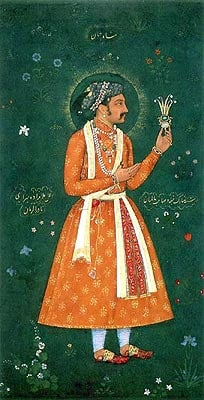 Prince Khurram (Later emperor Shahjahan) by artist Abu'l Hasan, circa 1616 - 1617. The Inscription has Shahjahan asserting that this portrait represents his likeness in perfect exactness.