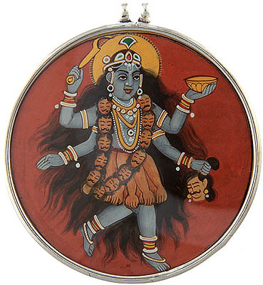 Goddess Kali Pendant with Lord Shiva on Reverse