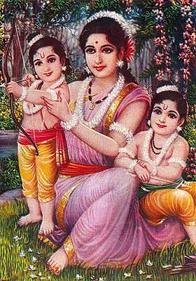 Sita with her two sons - Luva and Kasha