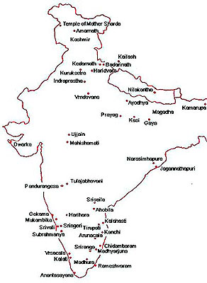 Places visited by Shankaracharya based on seven biographies