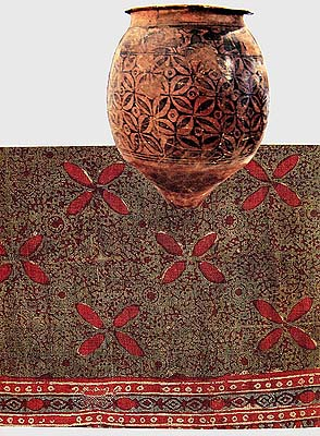 Four Petalled Motif on a Pot from Indus Valley from the National Museum of India. Below is a Sixteenth-Century Textile with Same Motif