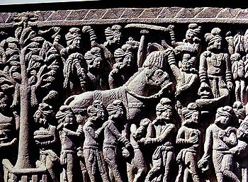 The Death Procession of the Buddha. Notice that the heads of all the accompanying Retinue are Turbanned