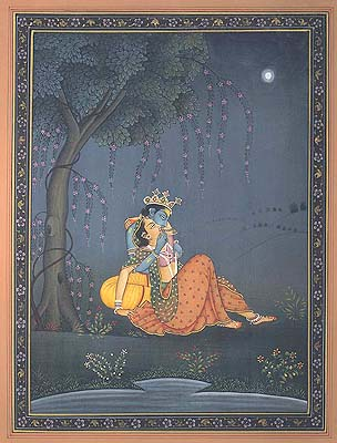 Radha Krishna in Moonlit Light