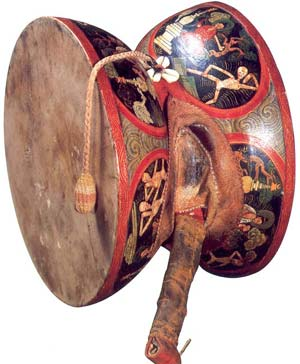 Damaru drum with whirling balls