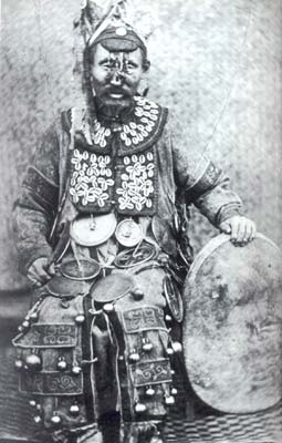 Shaman from Siberia, photographed with his drum in 1882
