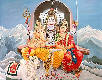 Shiva Parvati and Ganesa Seated Against a Shiva Ling on Mount of Kailash with Nandi