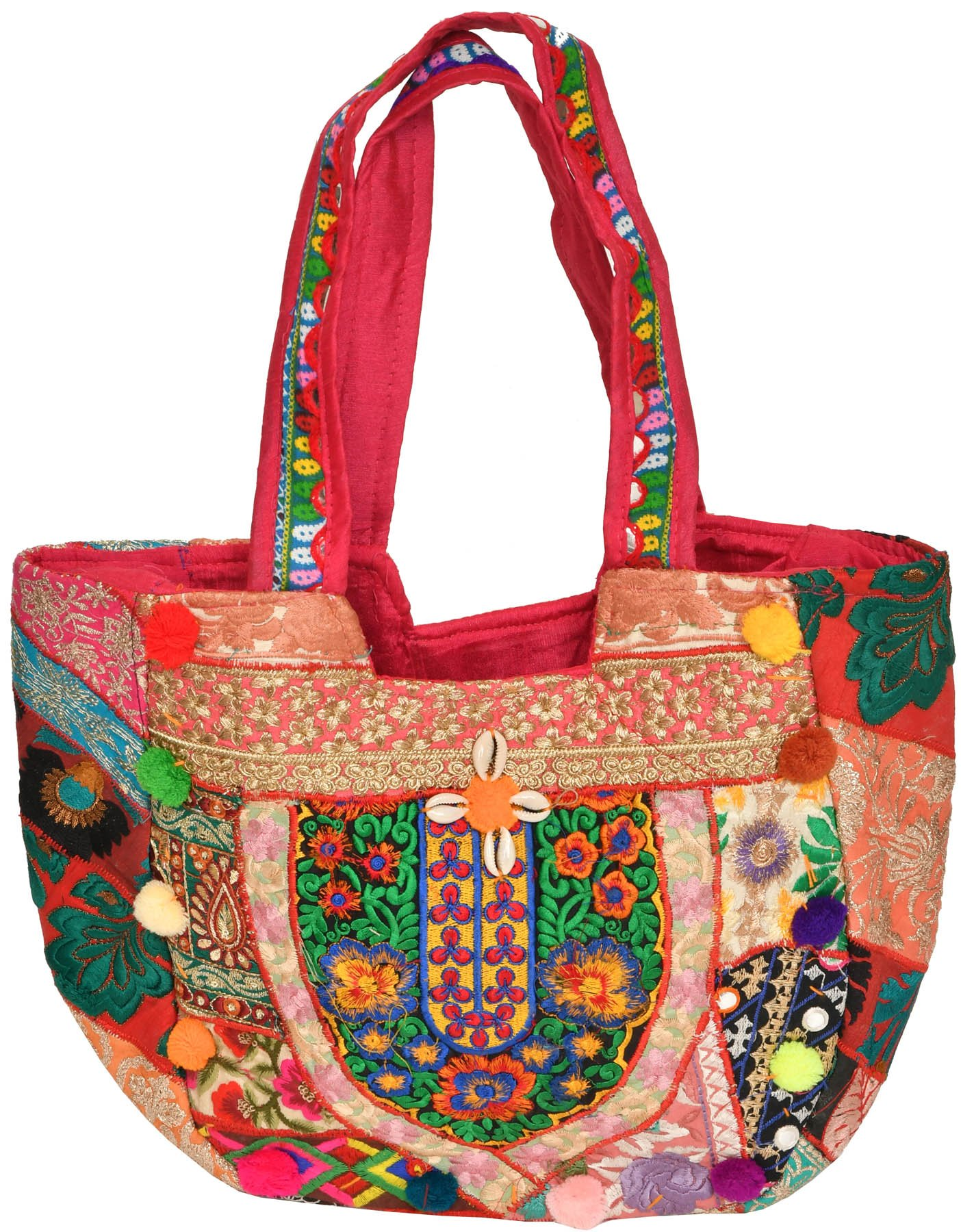 Multicolor shopper bag from kutch with embroidery and cowries