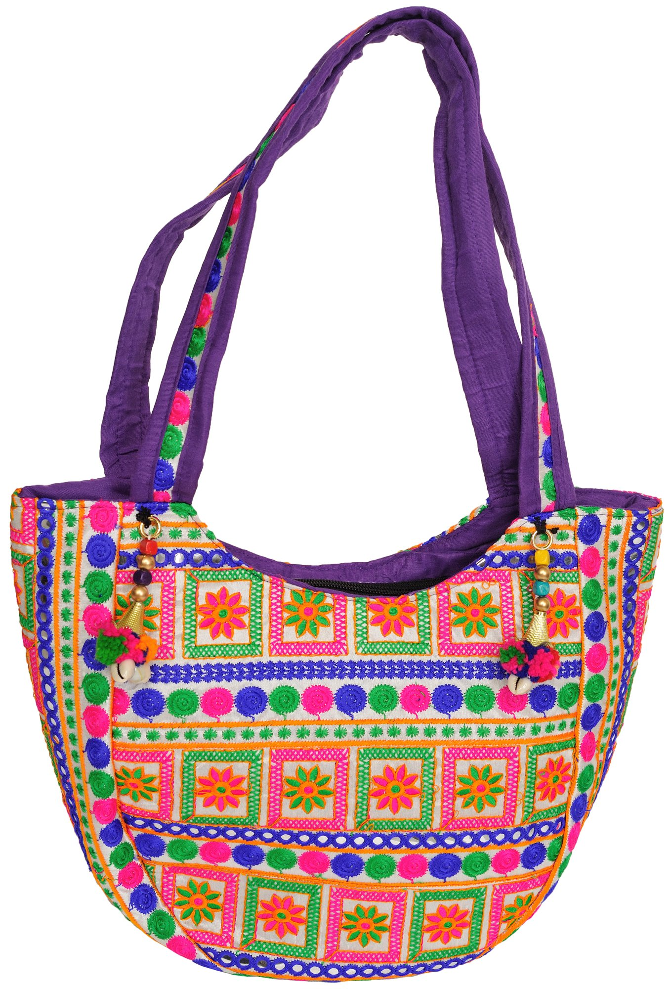 Star white floral embroidered shoulder bag from kutch with