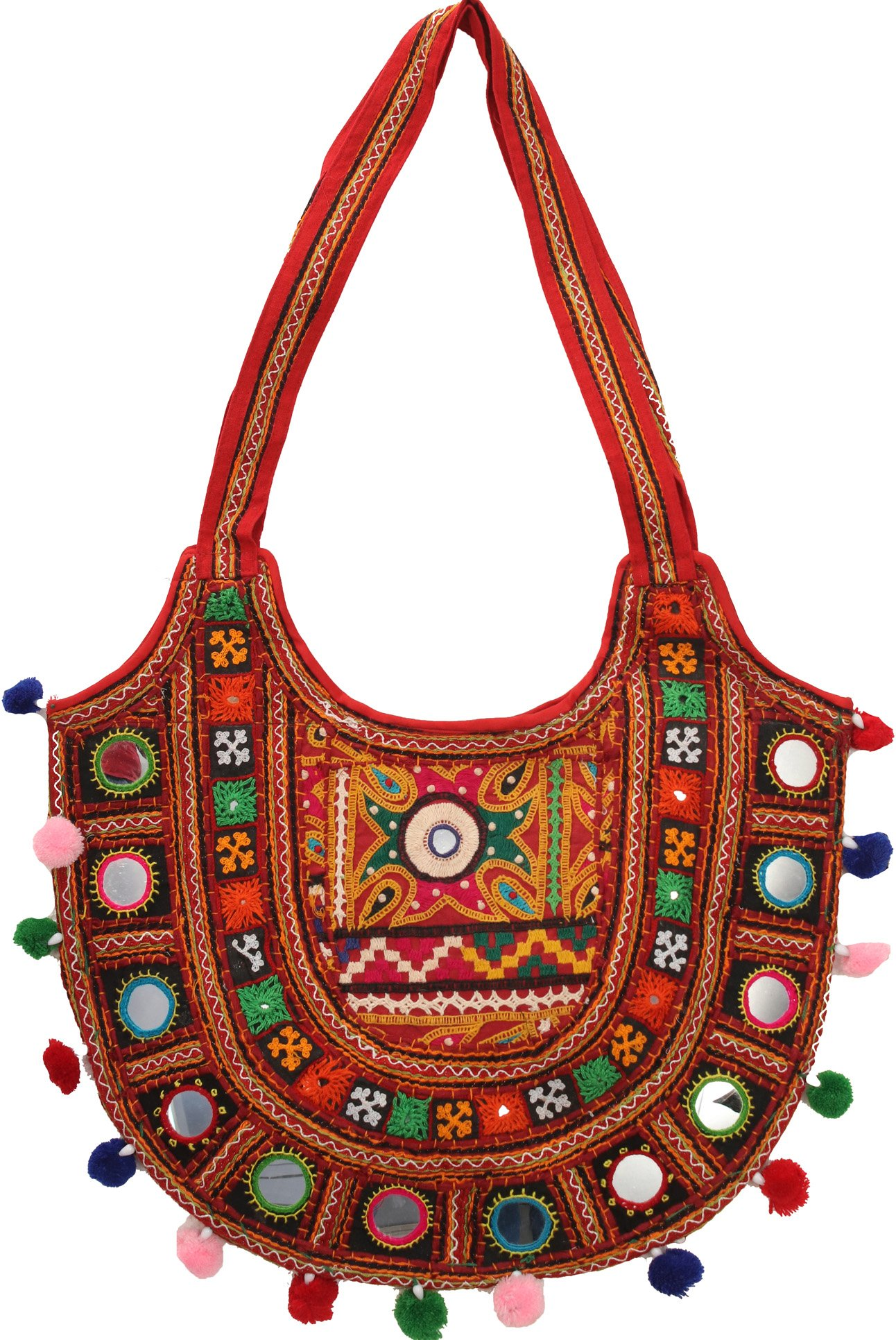 Multicolored floral embroidered shoulder bag from kutch