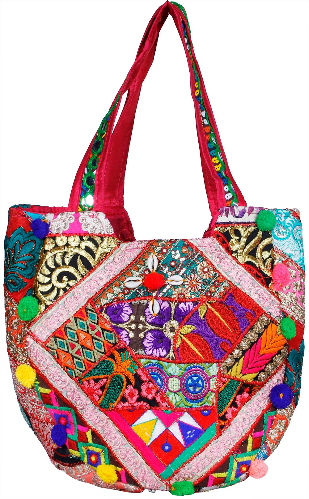 Multicolored shopper bag from kutch with dense embroidery