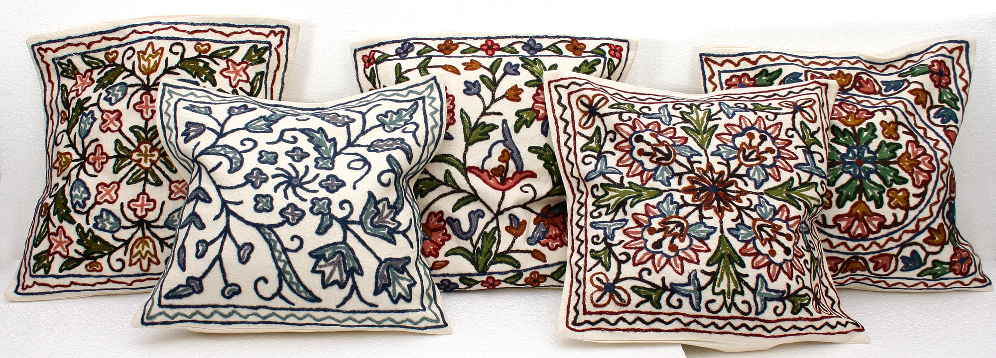 Lot Of Five Cushion Covers From Kashmir With All Over Ari