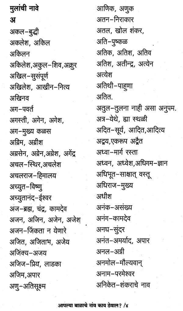 35+ M boy names marathi info