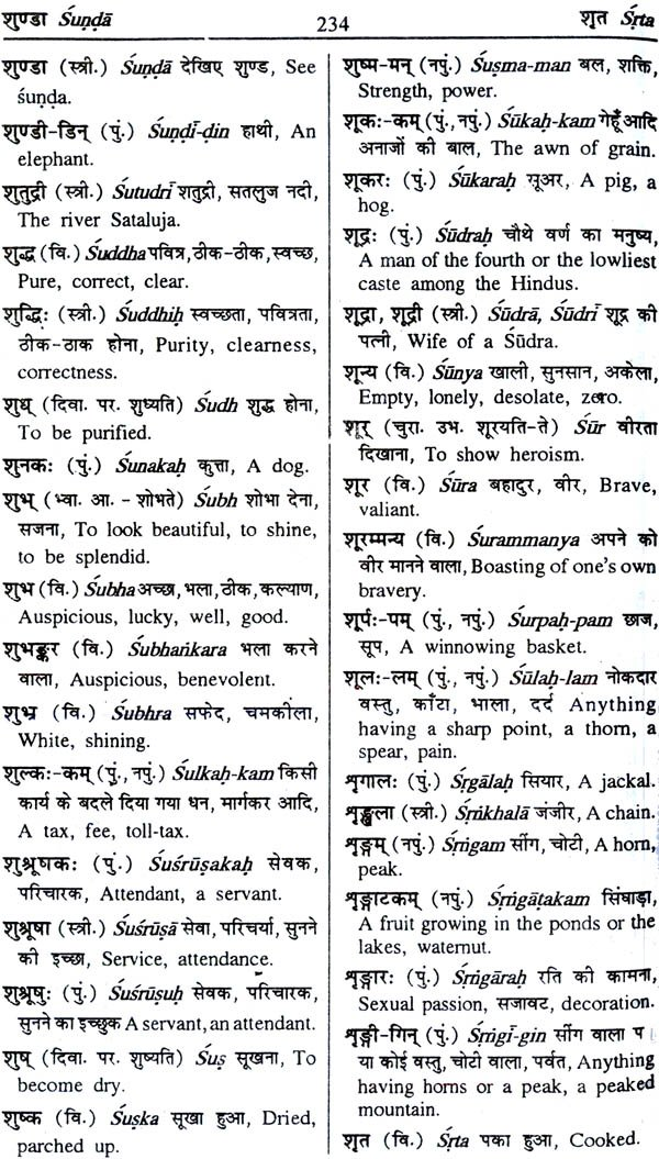 Sanskrit Dictionary (Sanskrit – Hindi – English): With Roman  Transliteration)