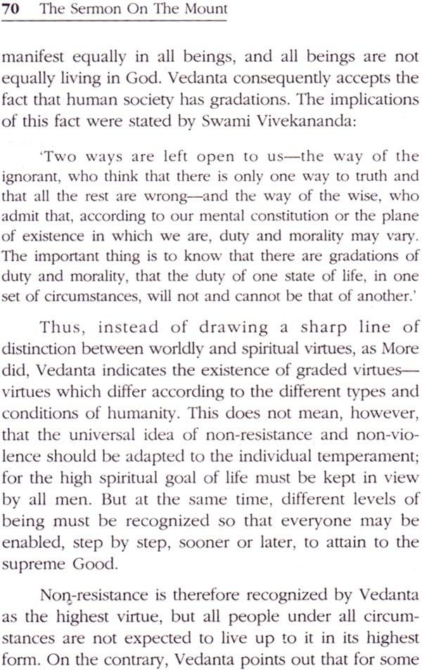 The sermon on the Mount according to Vedanta.