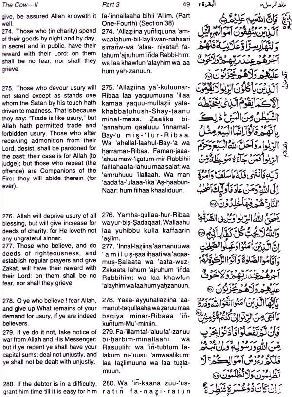 The Holy Quran (Transliteration in Roman Script, Translation with Original  Arabic Text)