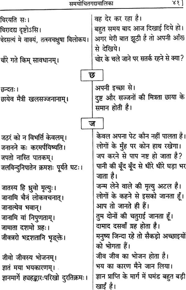 समयोचितागद्दामालिका (संस्कृत एवं हिंदी अनुवाद) - Sanskrit Sentences