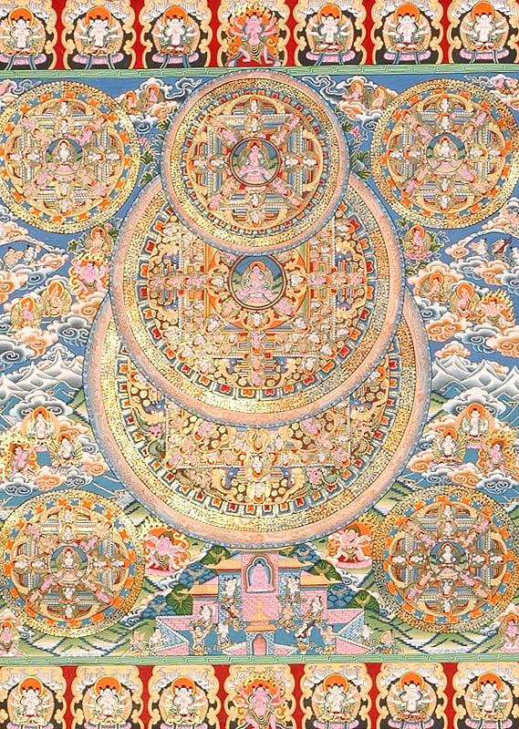A grand mandalas of the buddha with bodhisattvas wrathful guardians and adepts - Grand mandala ...