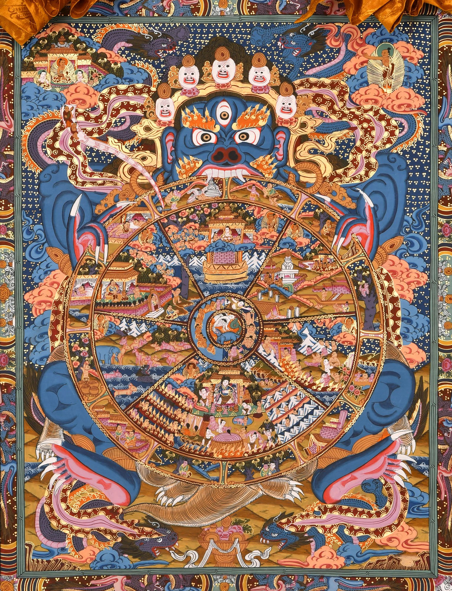 Tibetan Buddhist Wheel of Life, also known as The Wheel of Transmigration