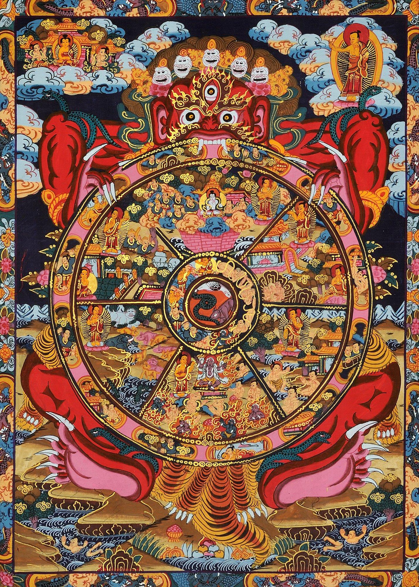 Wheel Of Fortune Tarot Card On Isolate Background Stock: Tibetan Buddhist Wheel Of Life