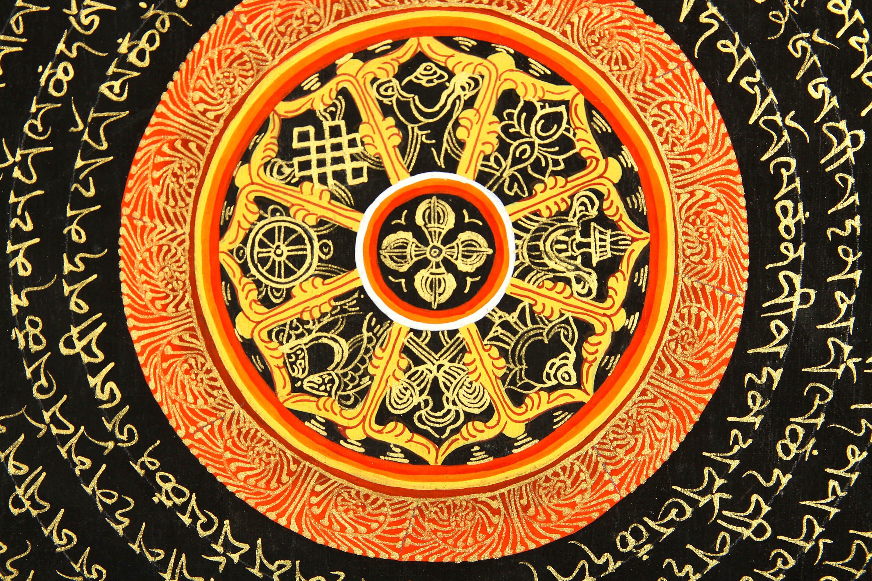 Mandala of Vishva Vajra With Ashtamangala and the Syllable Om Mani Padme Hum