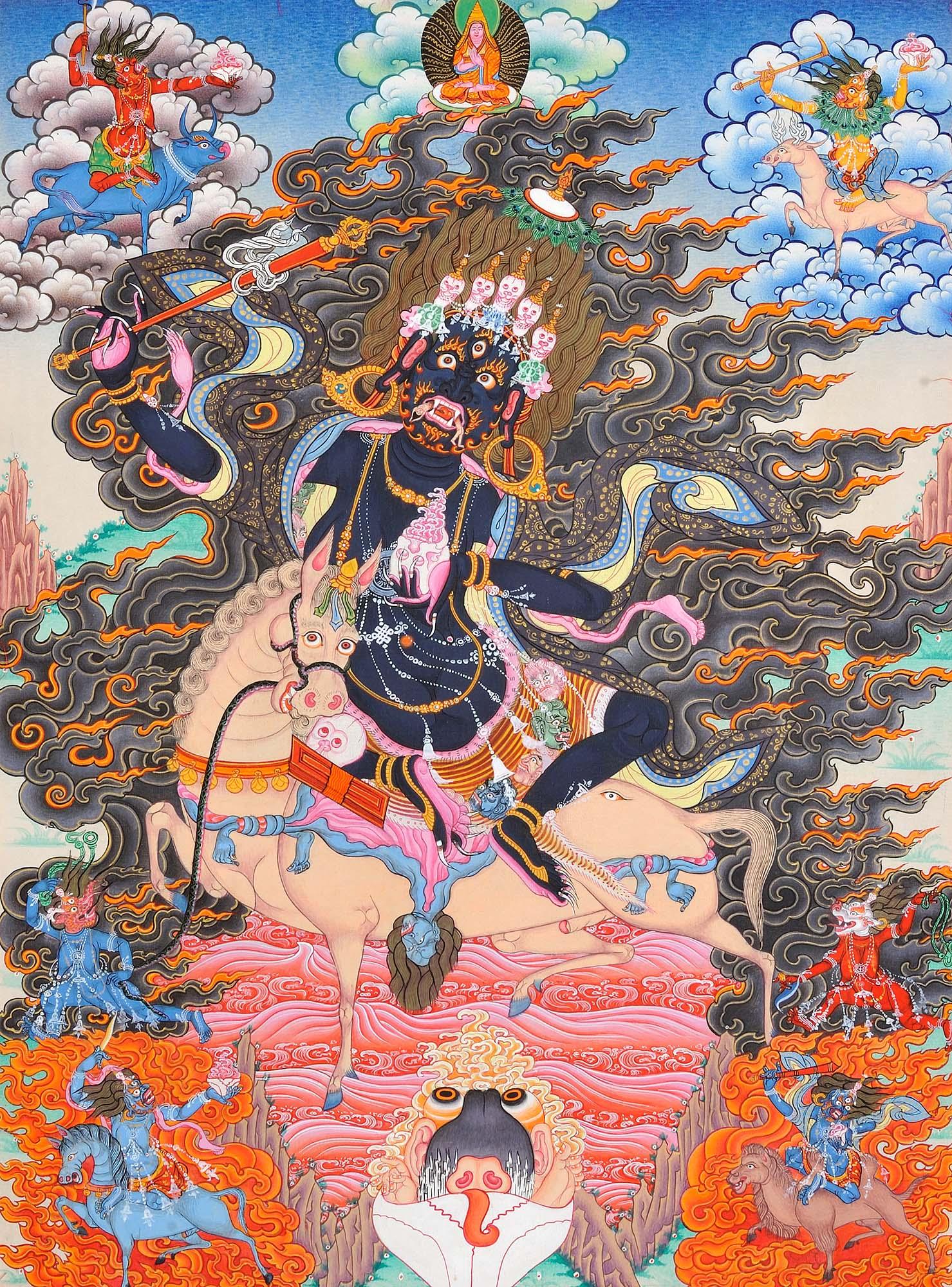 Tibetan Buddhist Goddess Palden Lhamo - Who Rides on a Sea of Blood  (Protector of the Dalai Lama)