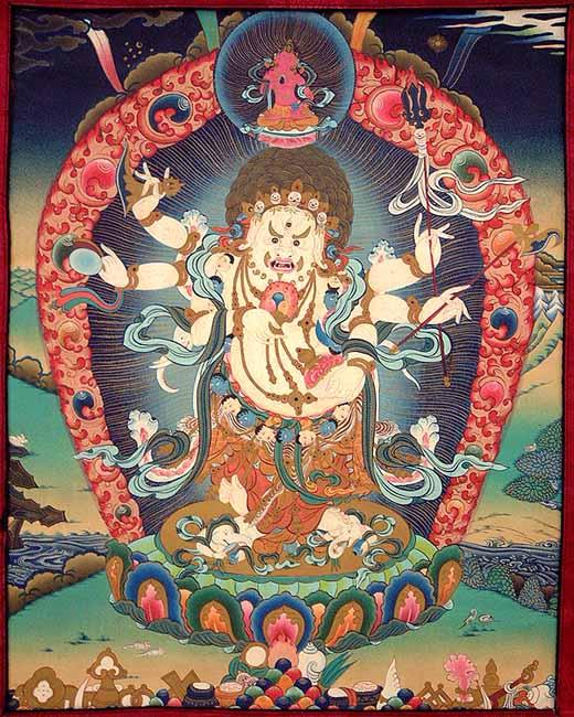 white mahakala the deity of wealth and prosperity