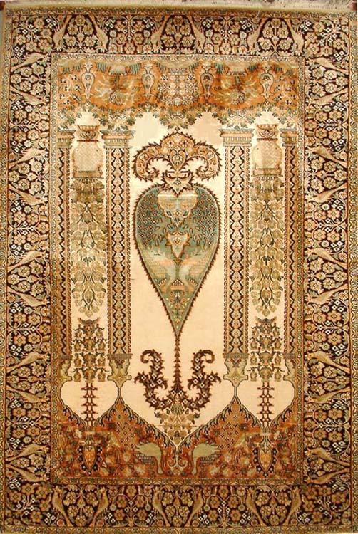 Handwoven Pure Silk Carpet From Kashmir