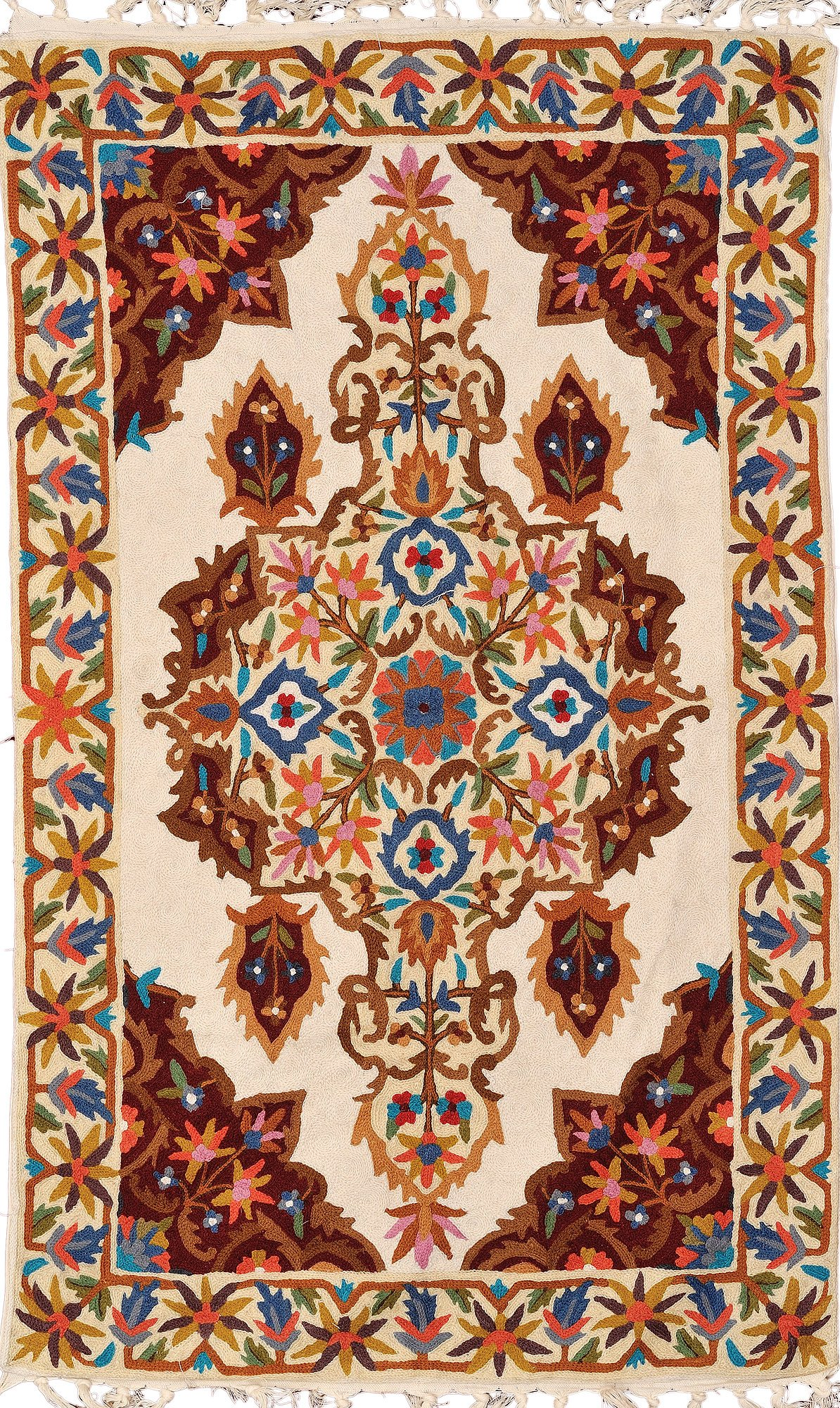 Cream Asana Mat From Kashmir With Floral Embroidery