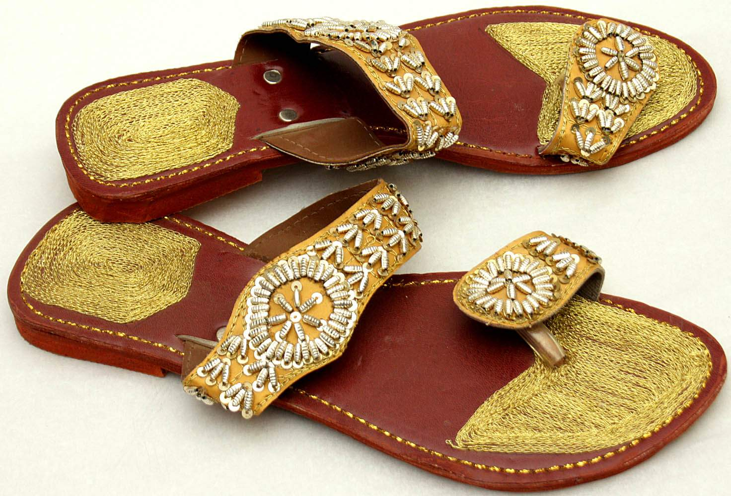 Embroidered Sandals With Beadwork