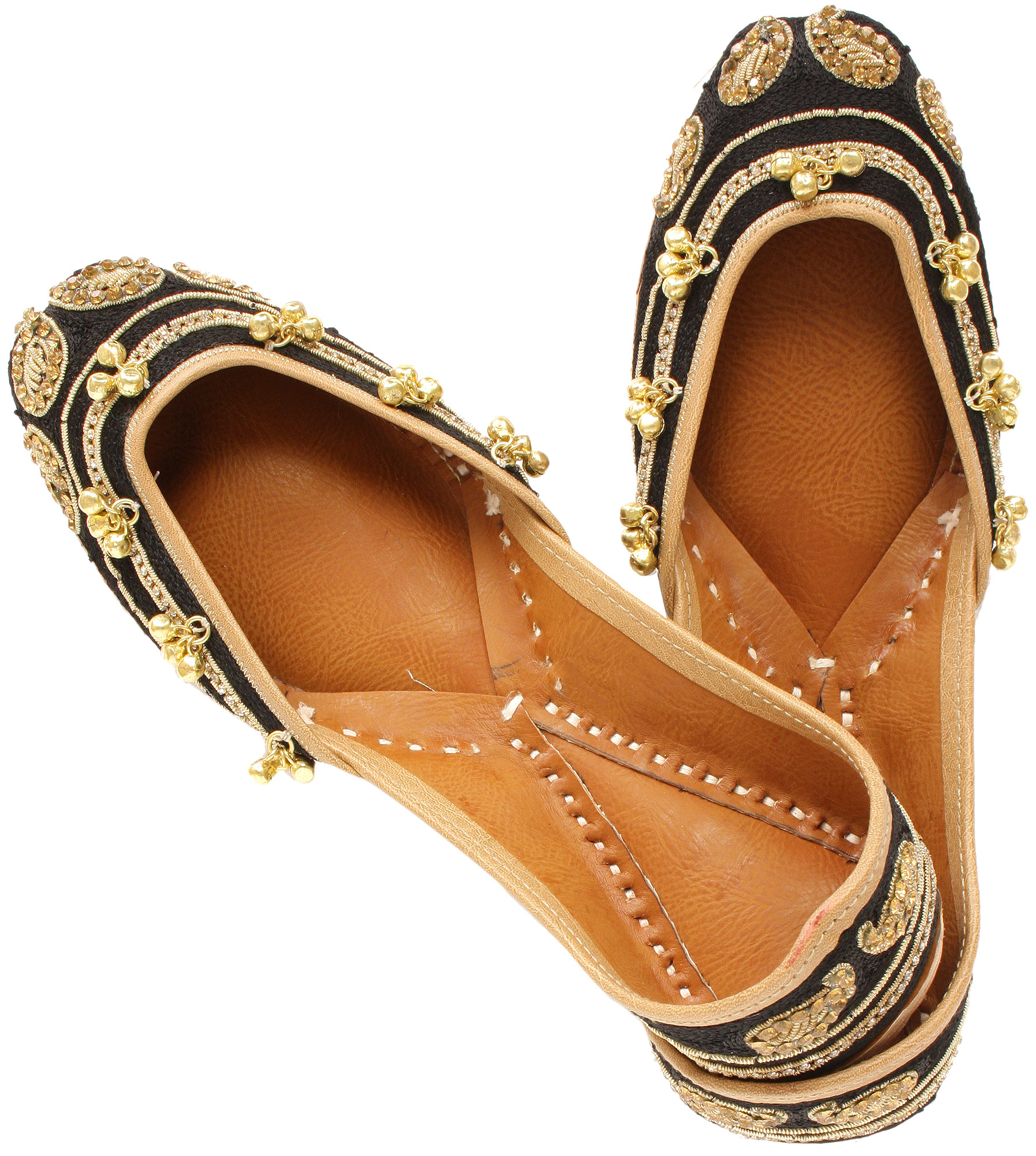 Jootis with Zardozi Embroidered Paisleys and Ghungaroos - Pure Leather - Color Beige Footwear Size 36 Exotic India MvlZkQ