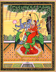 Vishnu with Lakshmi Seated on His 'Vahana' Garuda