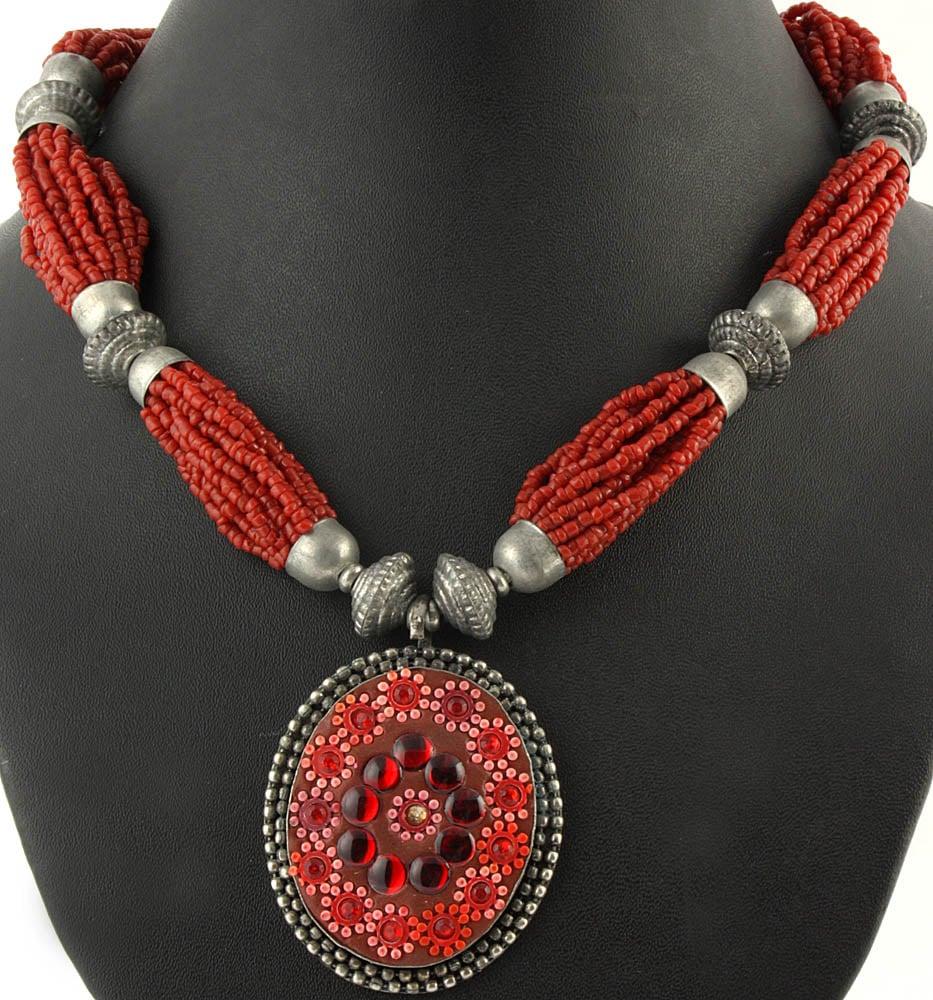 Coral-Color Bunch Necklace