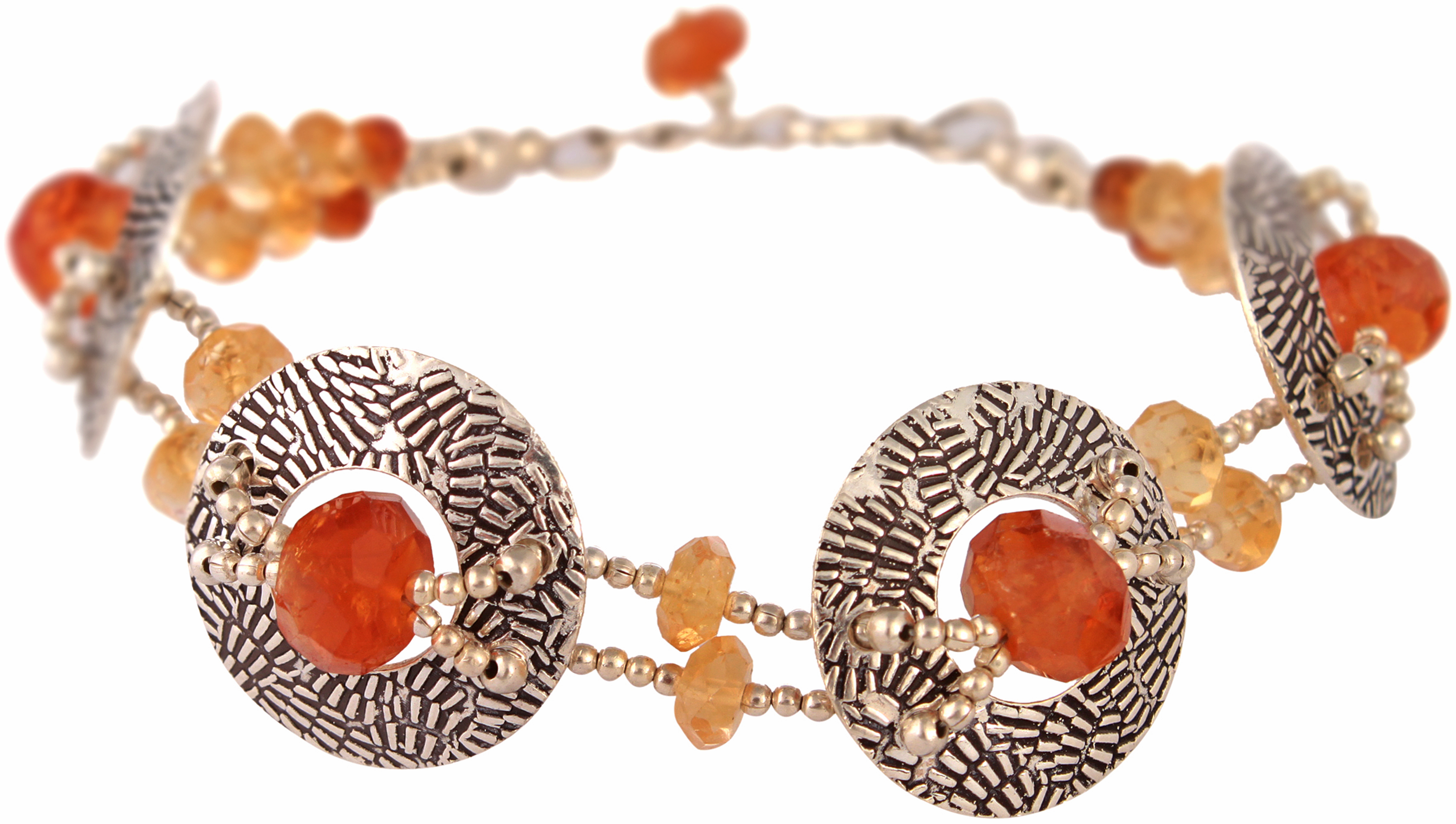 faceted hessonite bracelet with citrine