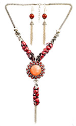 Cherry-Red Faceted Long Necklace with Earrings Set