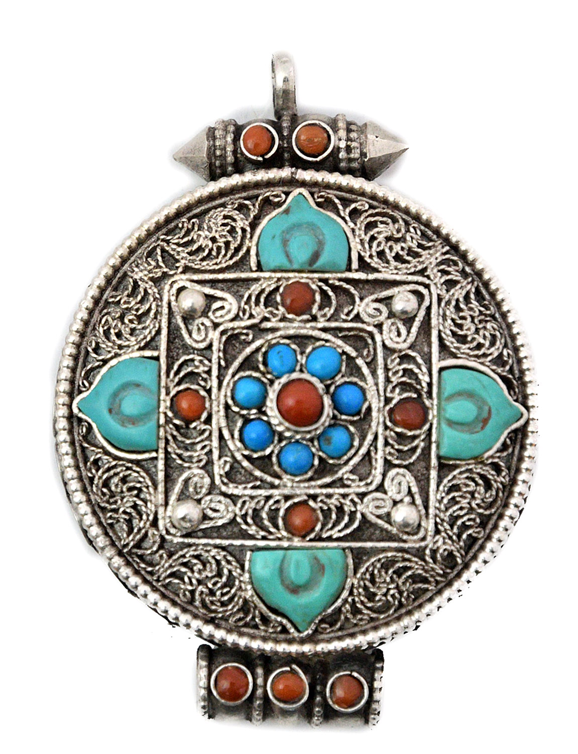 Cot In A Box Morocco Turquoise: Mandala Gau Box Pendant With Coral, Turquoise And Filigree