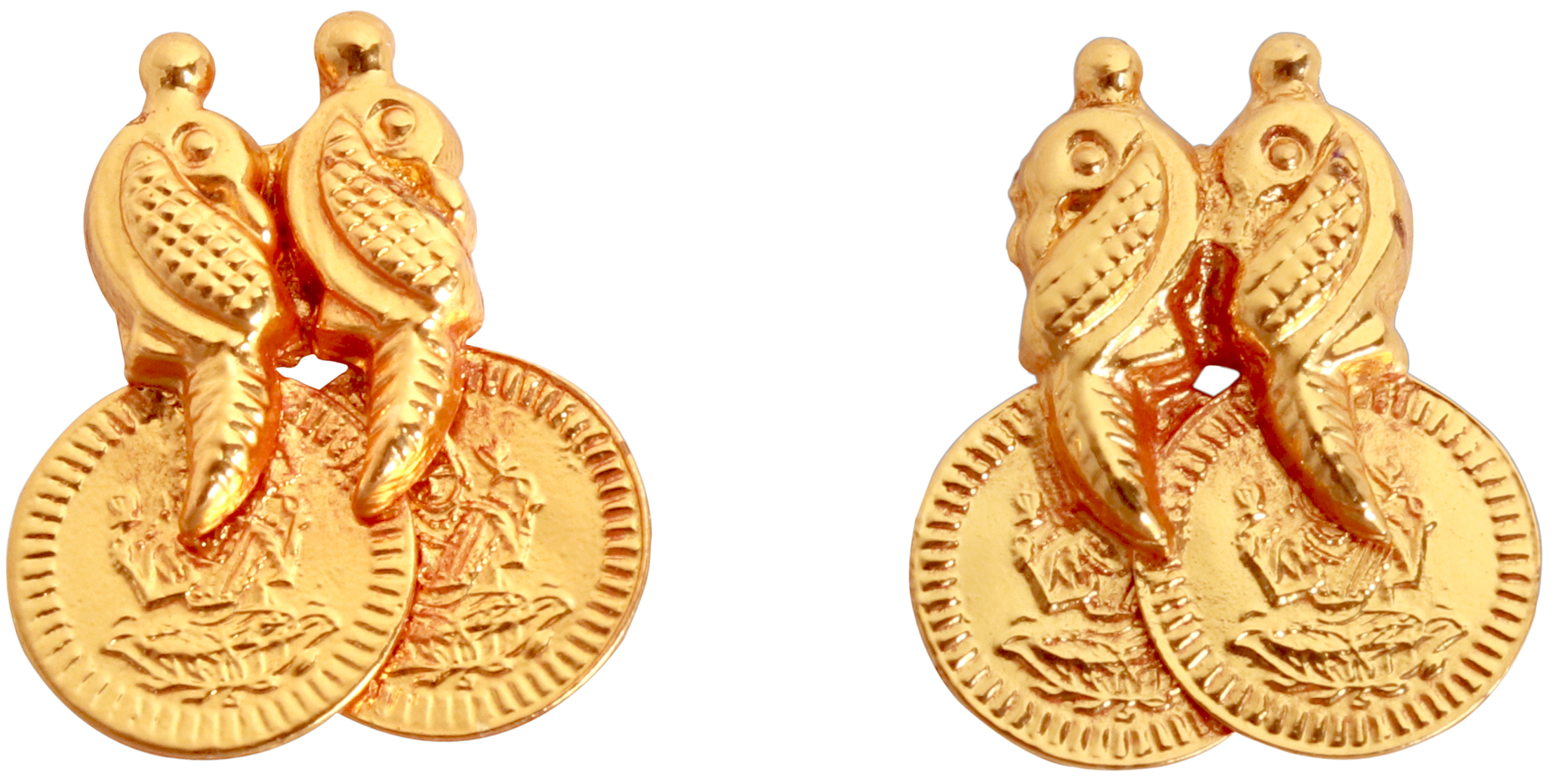 55f9c113d3cb3 Goddess Lakshmi and Peacocks Stud Earrings (South Indian Temple Jewelry)