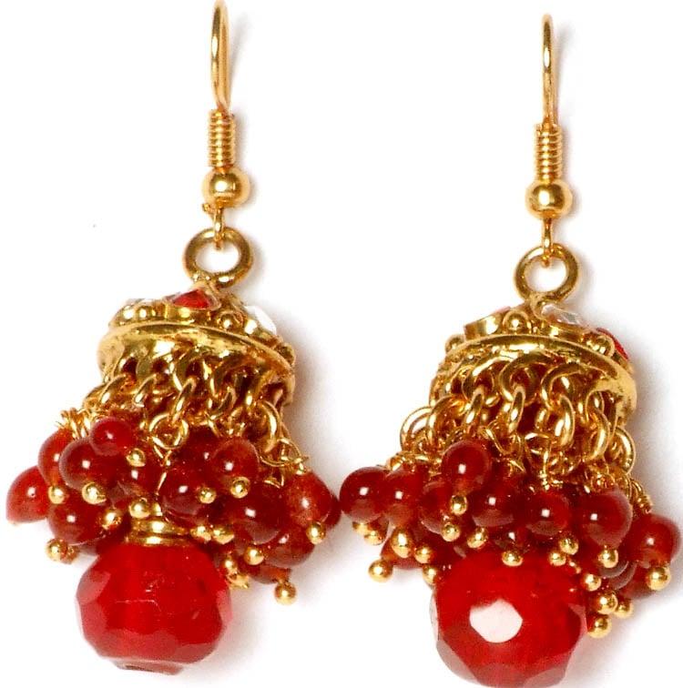 Red Chandelier India: Red Kundan Chandelier Earrings