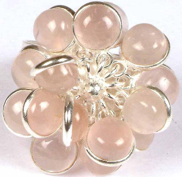 Rose Quartz Bunch Ring Central Flower