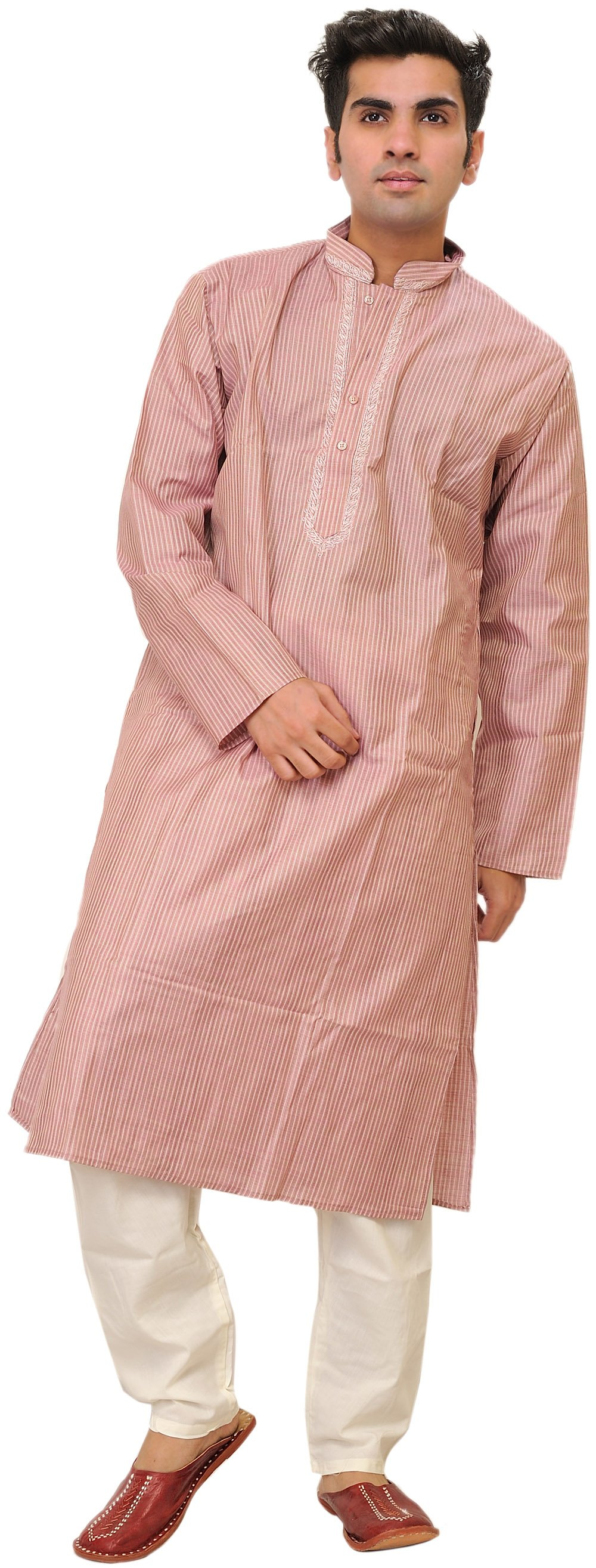 Zephyr Kurta Pajama With Embroidery On Neck And Woven Stripes