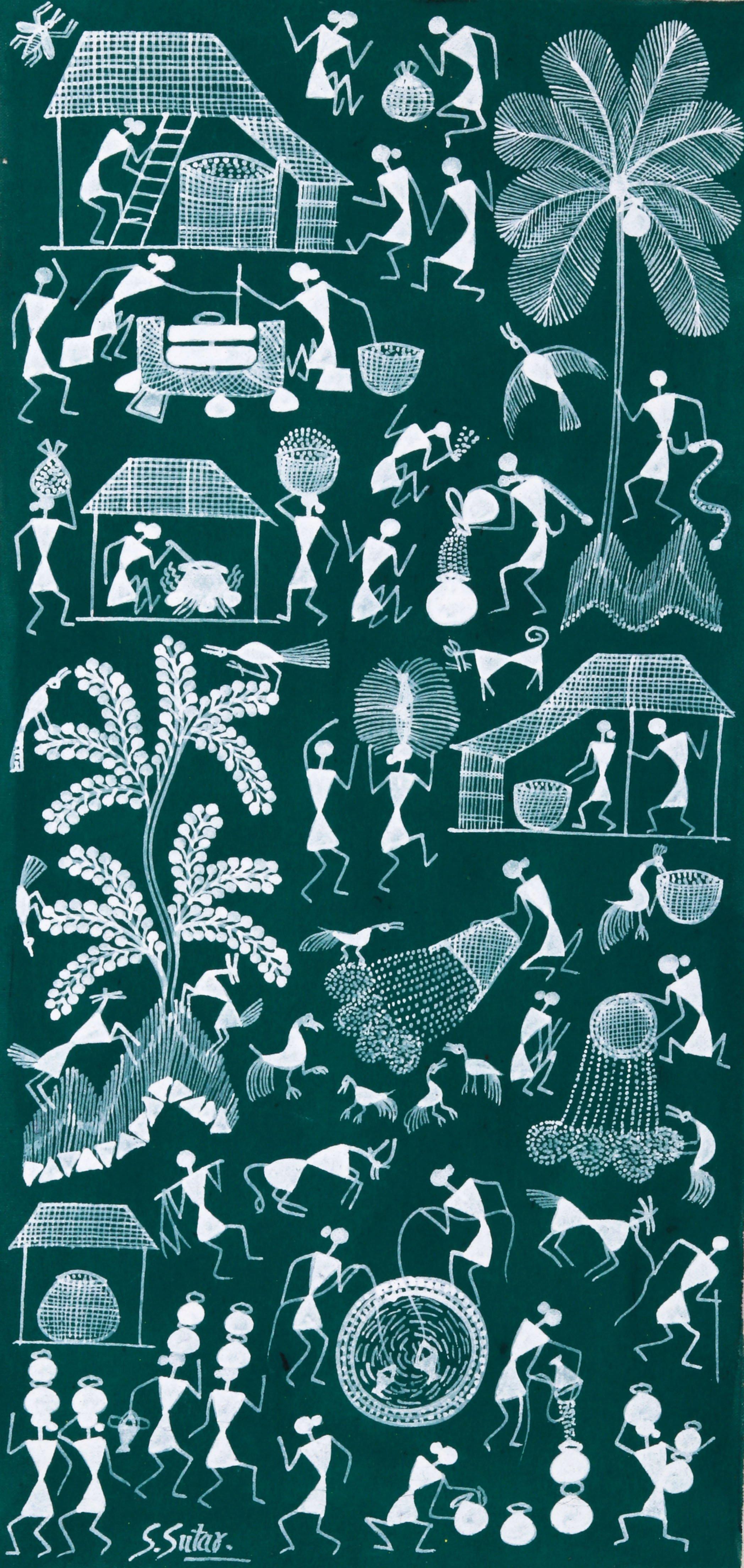 Paintings > Folk Art > Warli > Scenes of Human Life in Village